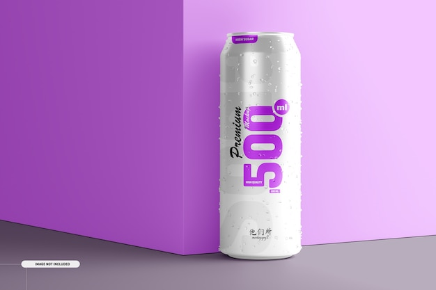 Mockup di lattina di soda da 500 ml