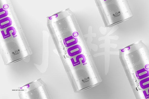 500ml soda cans mockup