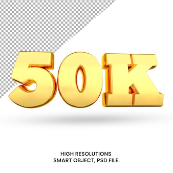 50k 소셜 미디어 추종자 및 구독자 격리 된 3d 렌더링