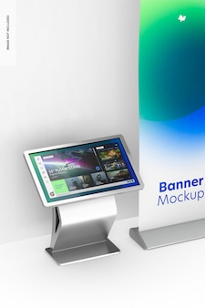 55 цифровая напольная подставка с макетом баннера