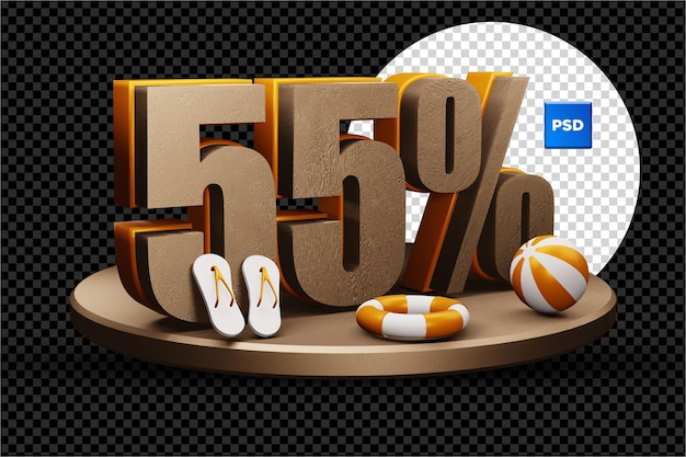 Значок скидки 55% 3d летняя распродажа изолирован