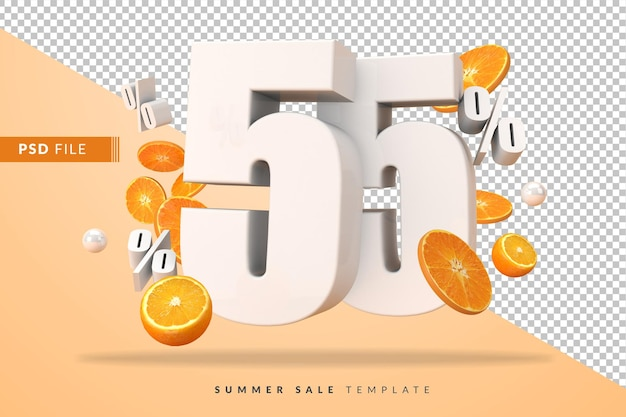 3dレンダリングでカットオレンジを使用した55%のサマーセールコンセプト