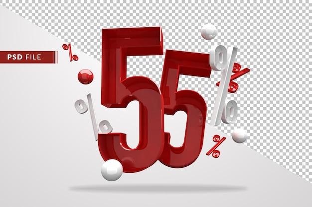55 процентов знак процента 3d номер красный, шаблон файла psd