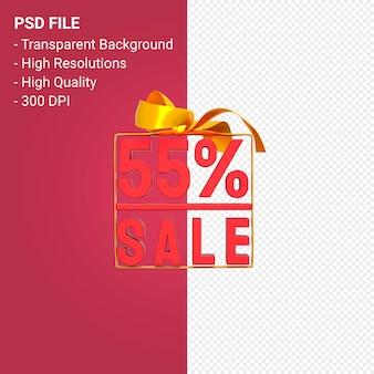 55 продажа с бантом и лентой 3d дизайн изолированы