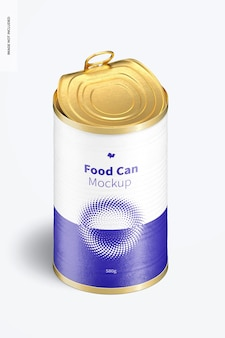 580g food can mockup, vertical isometric view