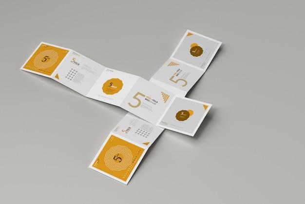 5つ折り正方形パンフレットモックアップ