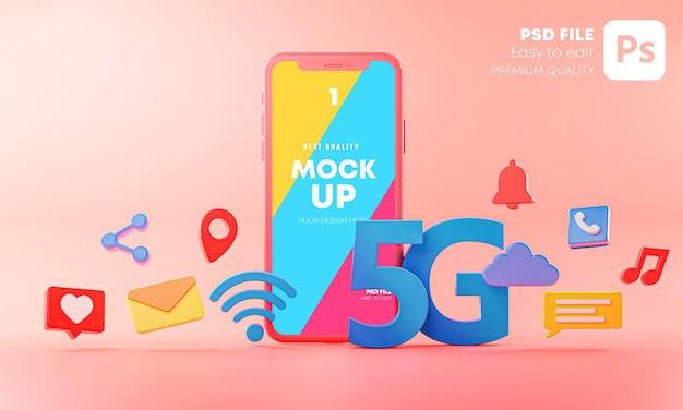 アイコン3dモックアップとピンクの背景に5g電話コンセプトモックアップ Premium Psd