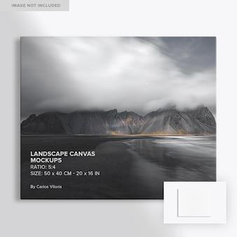 5x4 висячий фронтальный макет холста с пейзажем