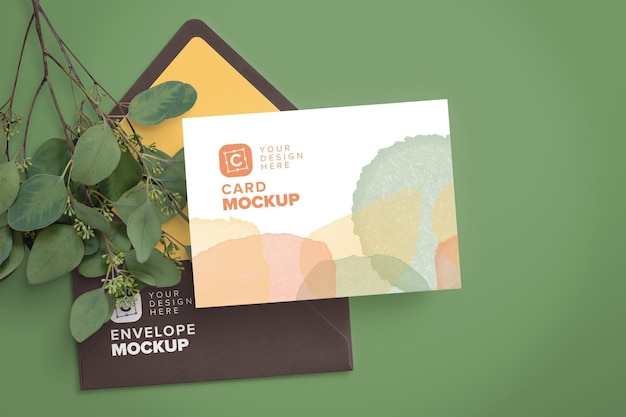 5x7in card mockup on envelope and eucalyptus branch