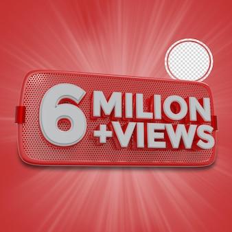 600万人の加入者3dレンダリング