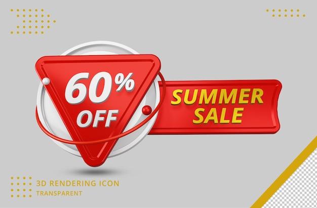 고립 된 3d 렌더링에서 60 % 3d 여름 할인 제공
