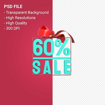 Продажа 60 процентов с бантом и лентой 3d дизайн изолированы