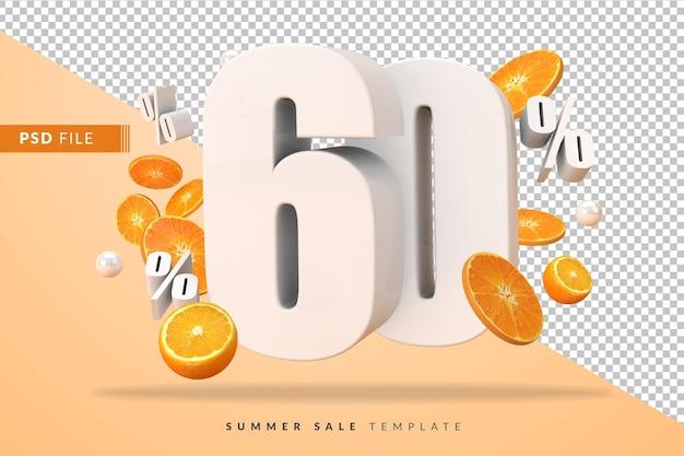 3dレンダリングでカットオレンジを使用した60%の夏のセールコンセプト