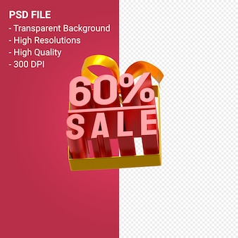 Продажа 60% с бантом и лентой 3d-дизайн на изолированном фоне