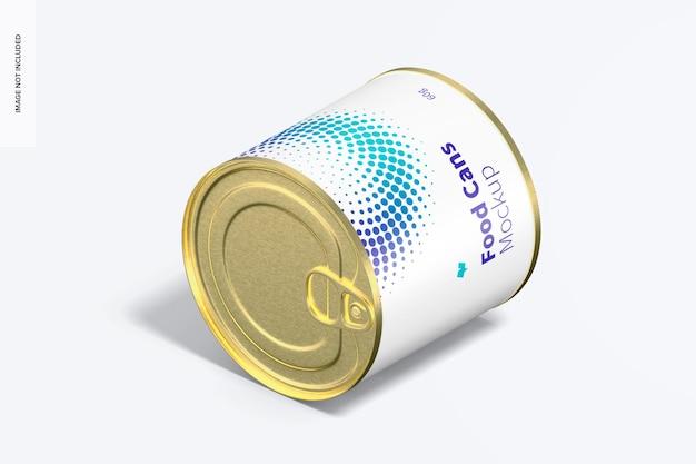 Мокап банки с едой 60 г, изометрический вид слева