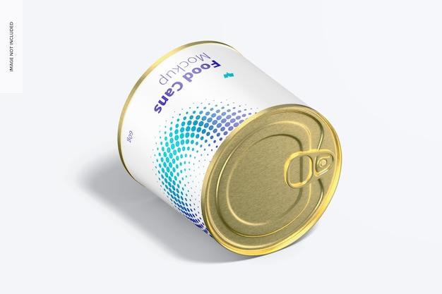 Мокап банки с едой 60 г, изометрический вид справа