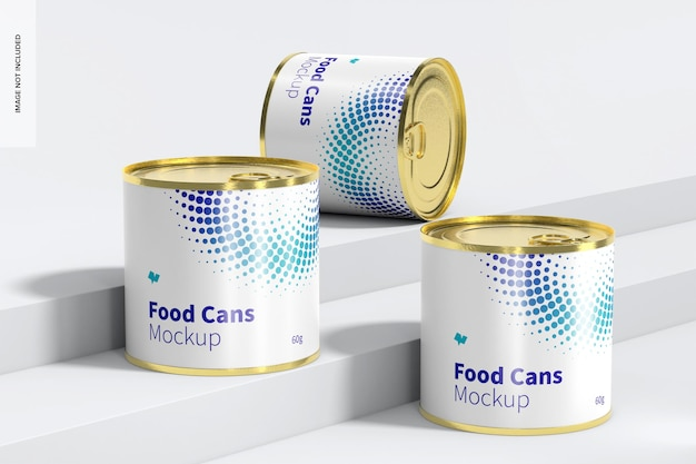60g food cans set mockup