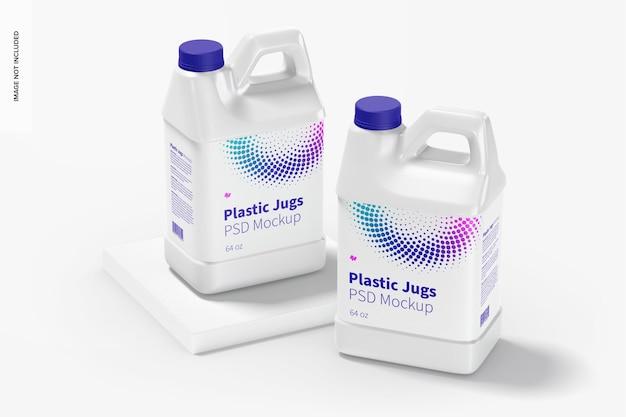 Мокап пластиковых кувшинов 64 унции, перспектива