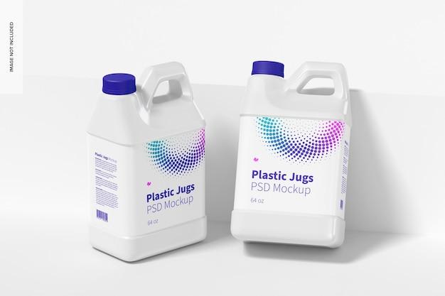 Мокап пластиковых кувшинов на 64 унции