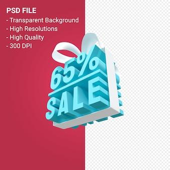 Распродажа 65% с бантом и лентой 3d-дизайн на изолированном фоне
