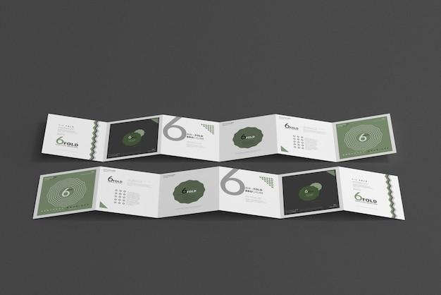 6つ折りパンフレットのモックアップ