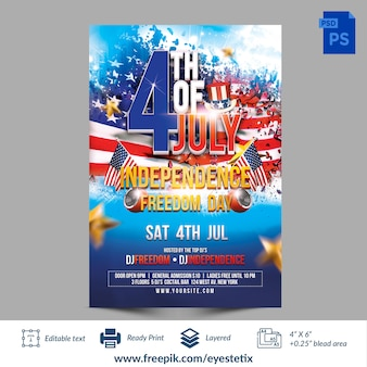 7月4日の独立記念日の自由の日のフォトショップのテンプレート