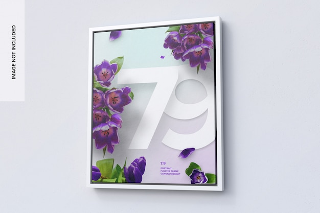 7:9 portrait frame mockup in right view
