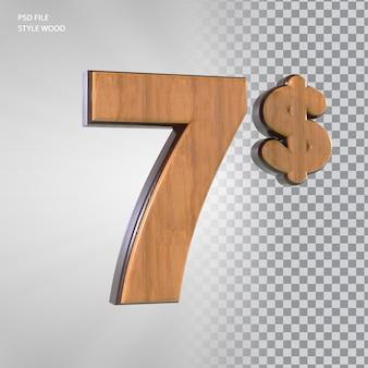 3d номер 7 долларов с деревянным стилем