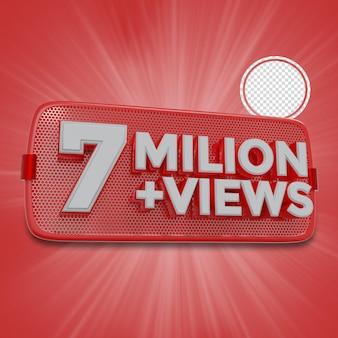 700万人の加入者3dレンダリング