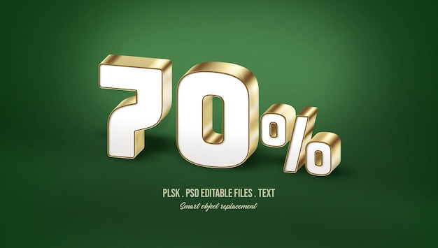 70% 3d text style effect