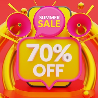 Скидка 70% на рекламный баннер летней распродажи Premium Psd
