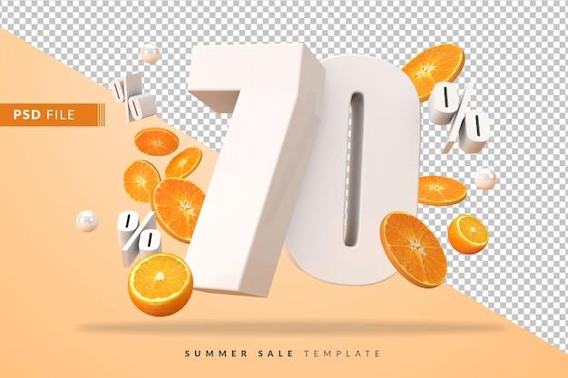 3dレンダリングでカットオレンジを使用した70%の夏のセールコンセプト
