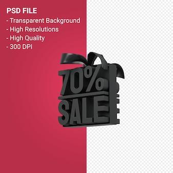 Продажа 70% с бантом и лентой 3d-дизайн на изолированном фоне