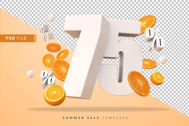 3dレンダリングでカットオレンジを使用した75%の夏のセールコンセプト