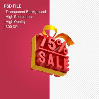 75% распродажа с бантом и лентой 3d-дизайн на изолированном фоне