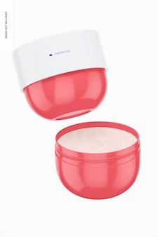 Mockup di vasetti di crema per il corpo da 8,1 once, galleggianti