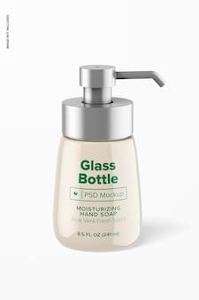 Стеклянная бутылка 8,4 унции с мокапом насоса, вид спереди