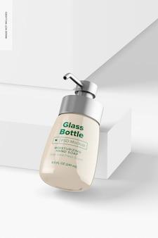 Стеклянная бутылка 8,4 унции с мокапом насоса, наклонная