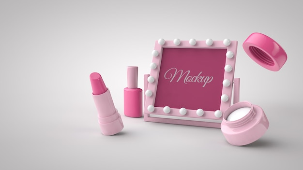 8 march international women day 3d rendering mockup