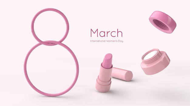8 march international women day 3d rendering template