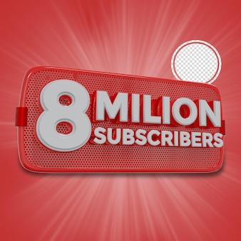 800万人の加入者3dレンダリング