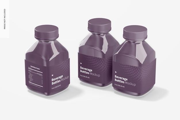 8 once di bottiglie per bevande mockup