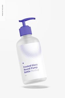 Мокап бутылки с круглым насосом из матового стекла на 8 унций, плавающий