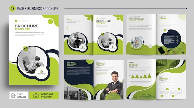 8 pages company brochure template psd