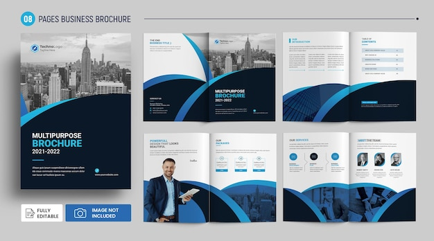 8 pages modern company brochure profile cover template premium psd