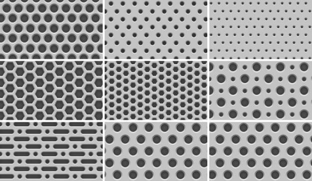 "8 seamless ""light metal grid"" patterns"