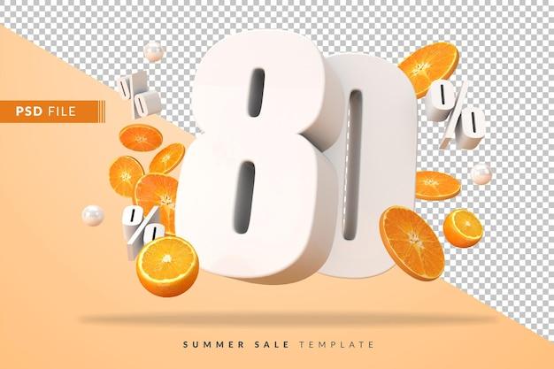3dレンダリングでカットオレンジを使用した80%の夏のセールコンセプト