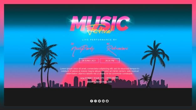 80年代の音楽祭のためのwebバナーのテンプレート