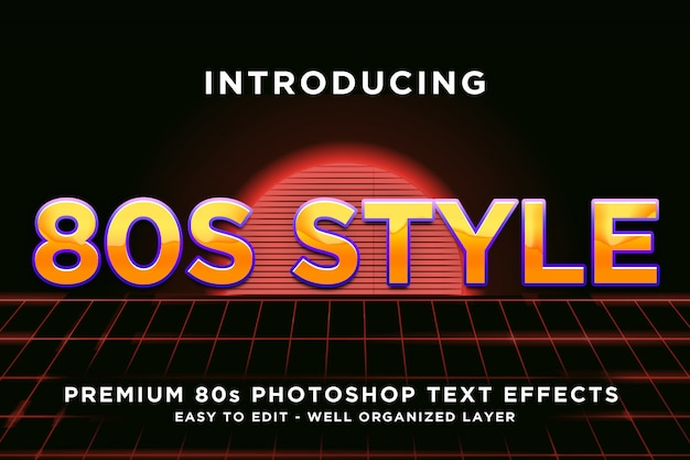 80年代のゴールドスタイルのテキスト効果テンプレート