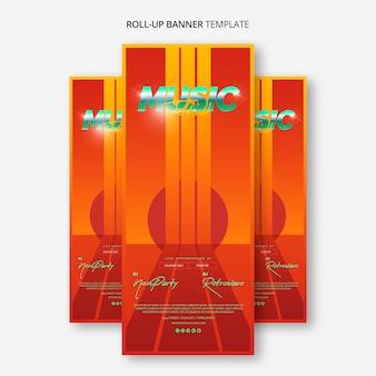 Сверните шаблон баннера для музыкального фестиваля 80-х годов